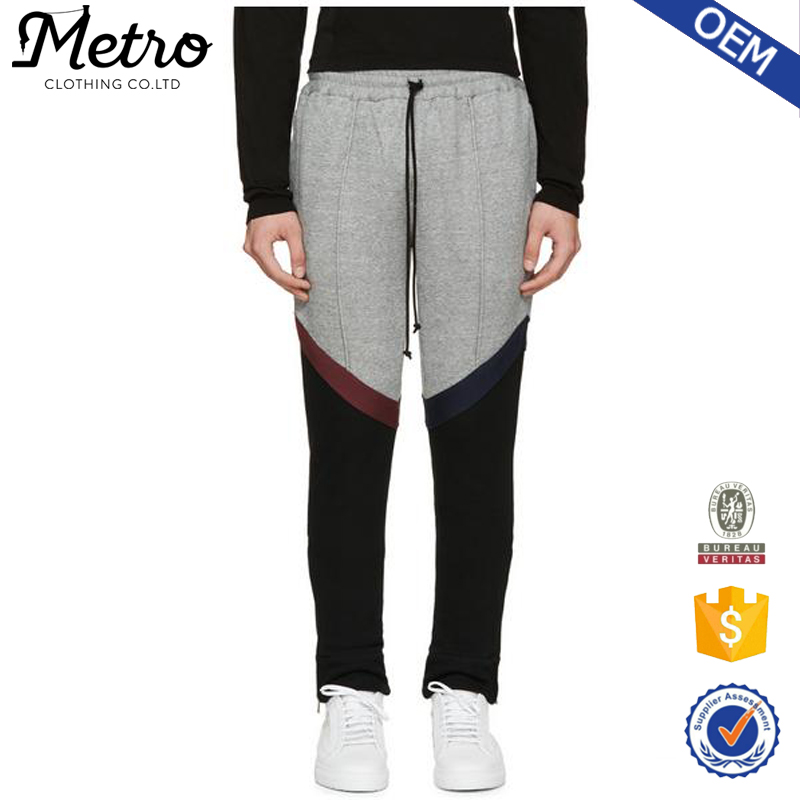 Fashion Grey Colorblocked Rugby Jogger Pants Wholesale