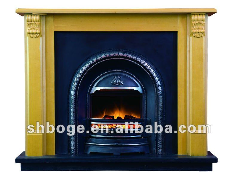 Realistic Cast Iron Antique Electric Fireplace With Mantel Insert Product