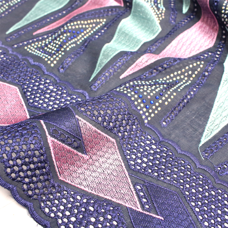 Embroidery high material textile swiss voile lace of VL10725-2