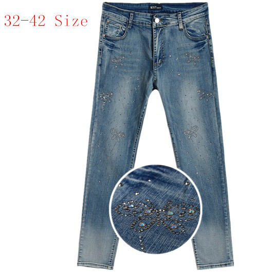 High-end Plus Size Women's Pencil Pants , Bow Diamond Elastic Slim Korean Women jeans 32 34 36 38 40 42 Size Free Shipping