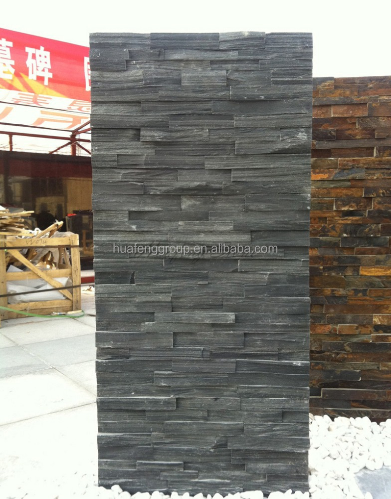 Cheap slate cultured stacked stone veneer panel lowes