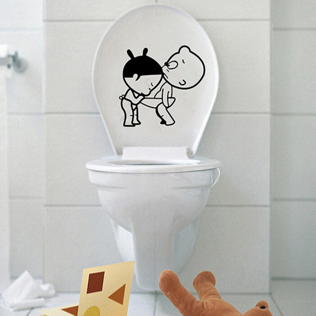 2015 New Funny bathroom decro Home Decoration Creative Toilet stickers Cute Kids Wall Stricker free shipping