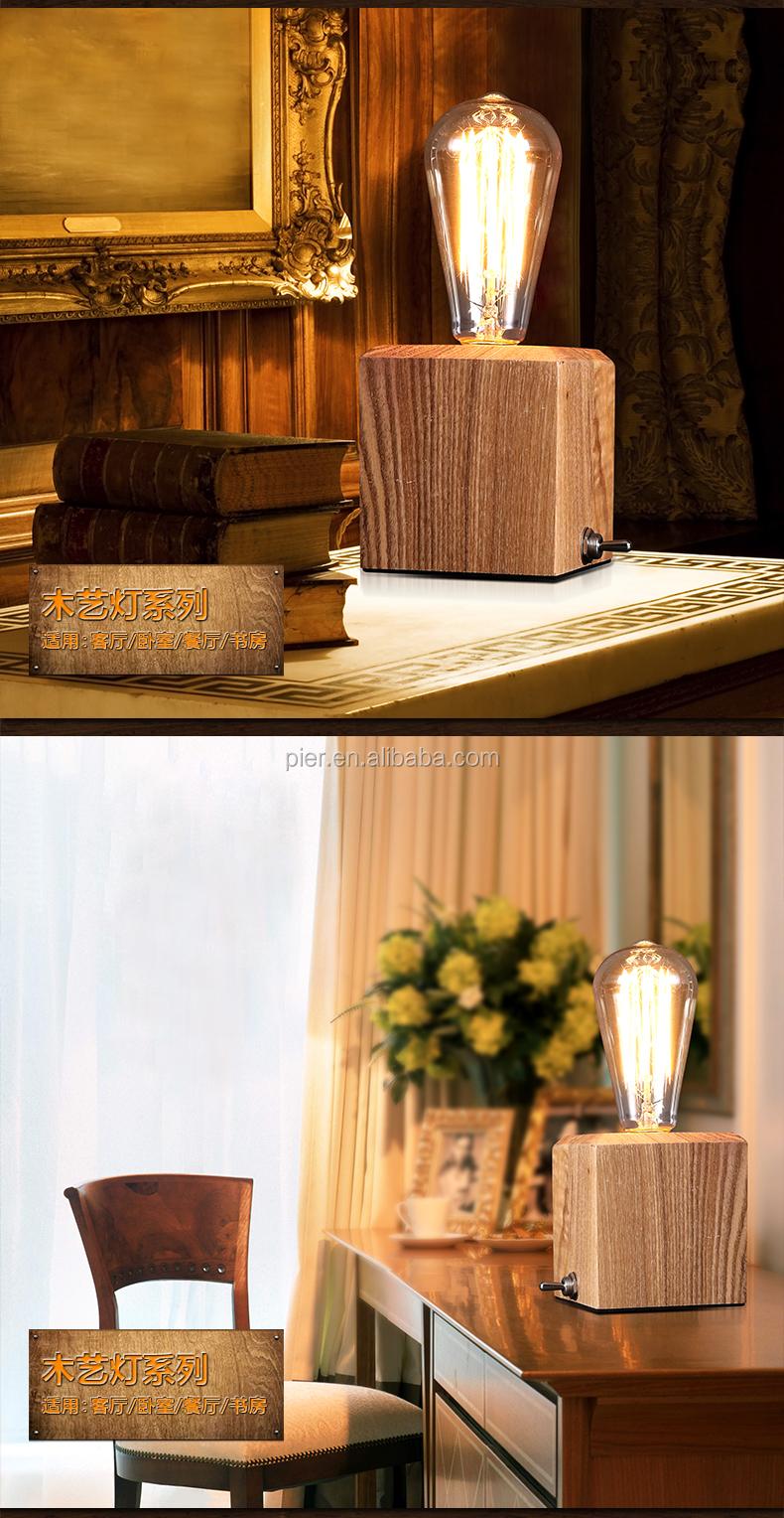 Vintage Legno Lampada Da Tavolo Camera Da Letto Illuminazione,E27 ...