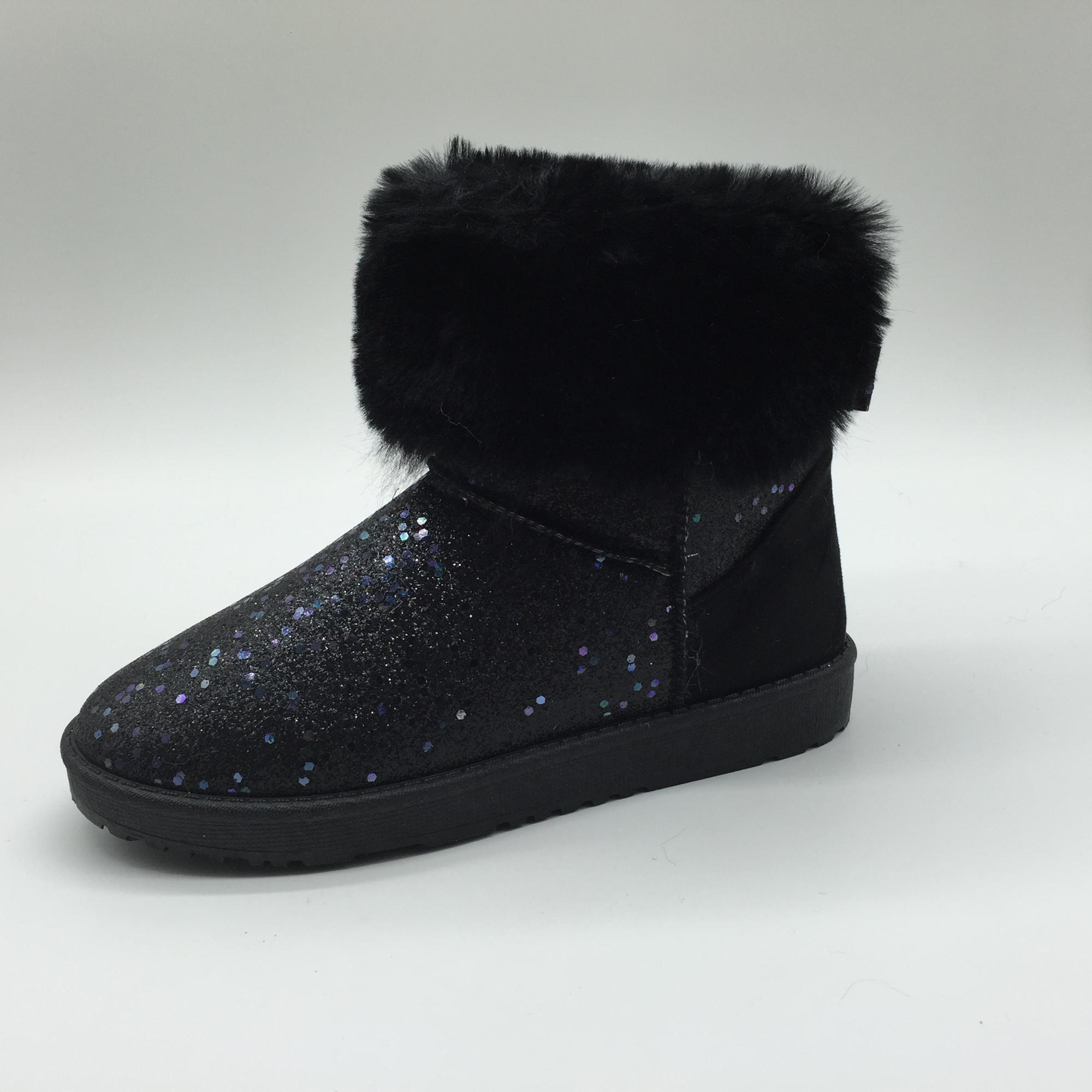 Pretty Elegance Black Glitter Pu Shoes Boots for Girls