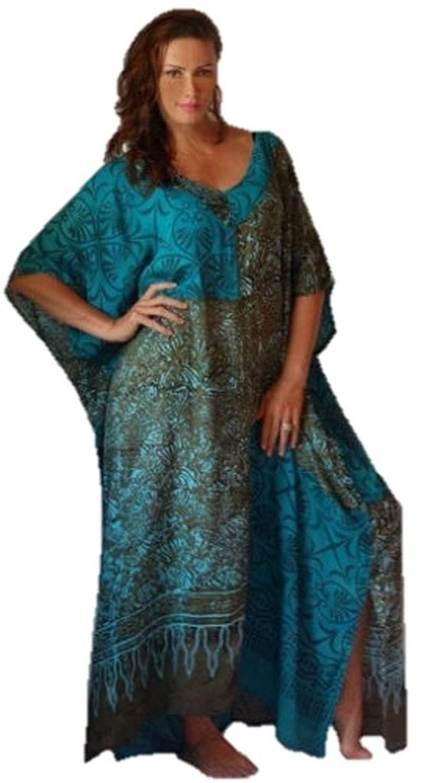 Lotustraders Caftan Lounge Dress Art Bali Batik Comb Patch V-Neck H820