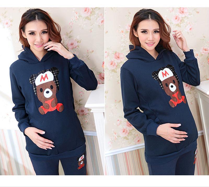 Беременным белье осень и зима гвардии суб-кусок мультфильм медведь костюм толстовки беременность одежда для беременных