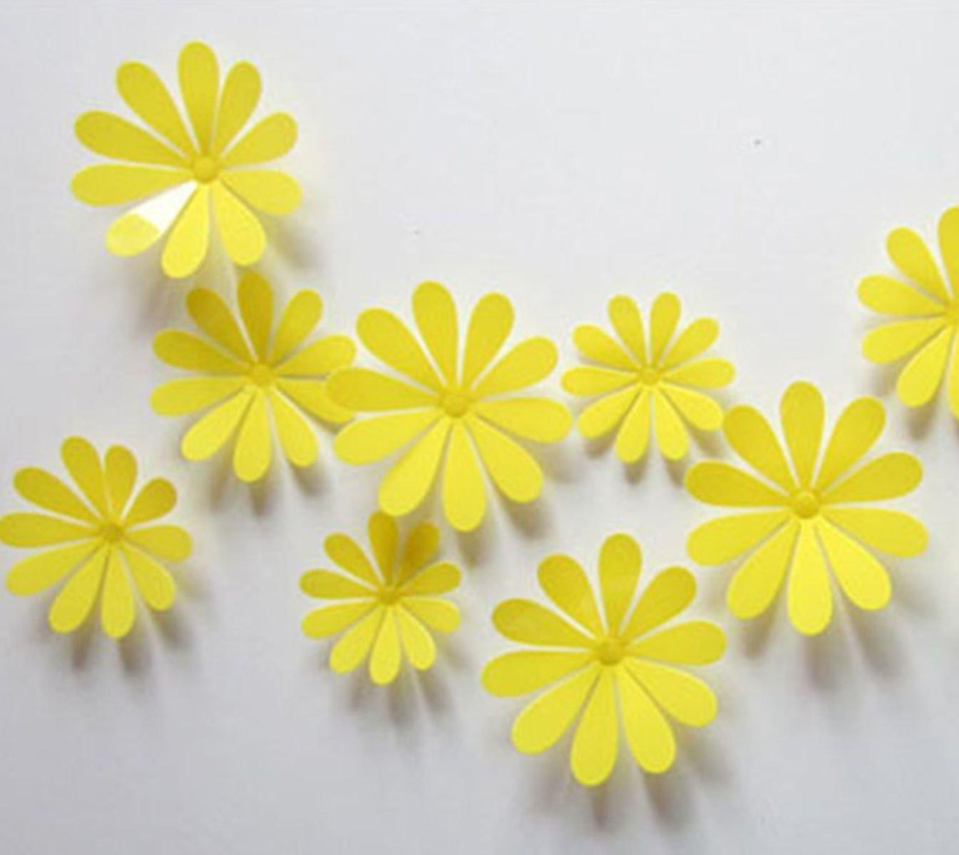 Buy Lenofocus 24pcs 3d Flower Wall Stickers Decor Art Decorations 3 ...
