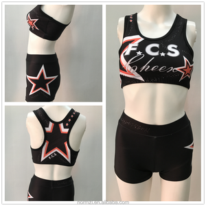 High quality Cheerleader training cheer outfit practice wear sports bra&shorts