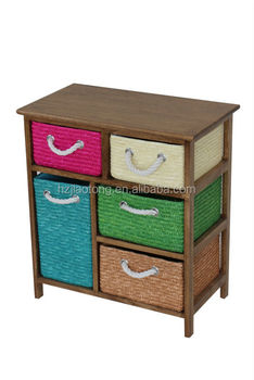 Bright Color Baskets Wooden Storage Cabinet Storage Unit With 5 Drawers Buy Wicker Storage Cabinetbedroom Storage Unitsmall Wicker Cabinet Product