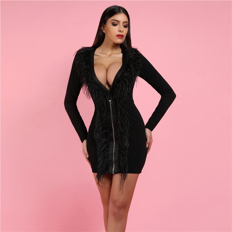 2019 neue Frauen Schwarz Satin Feder Vorne Extreme Plunge Tiefem V-ausschnitt Sexy Club Bodycon Kleid