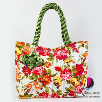 Handbags   Vintage Floral Tote Bags With Front Rose Ribbon And Twisted  Fabric Handle