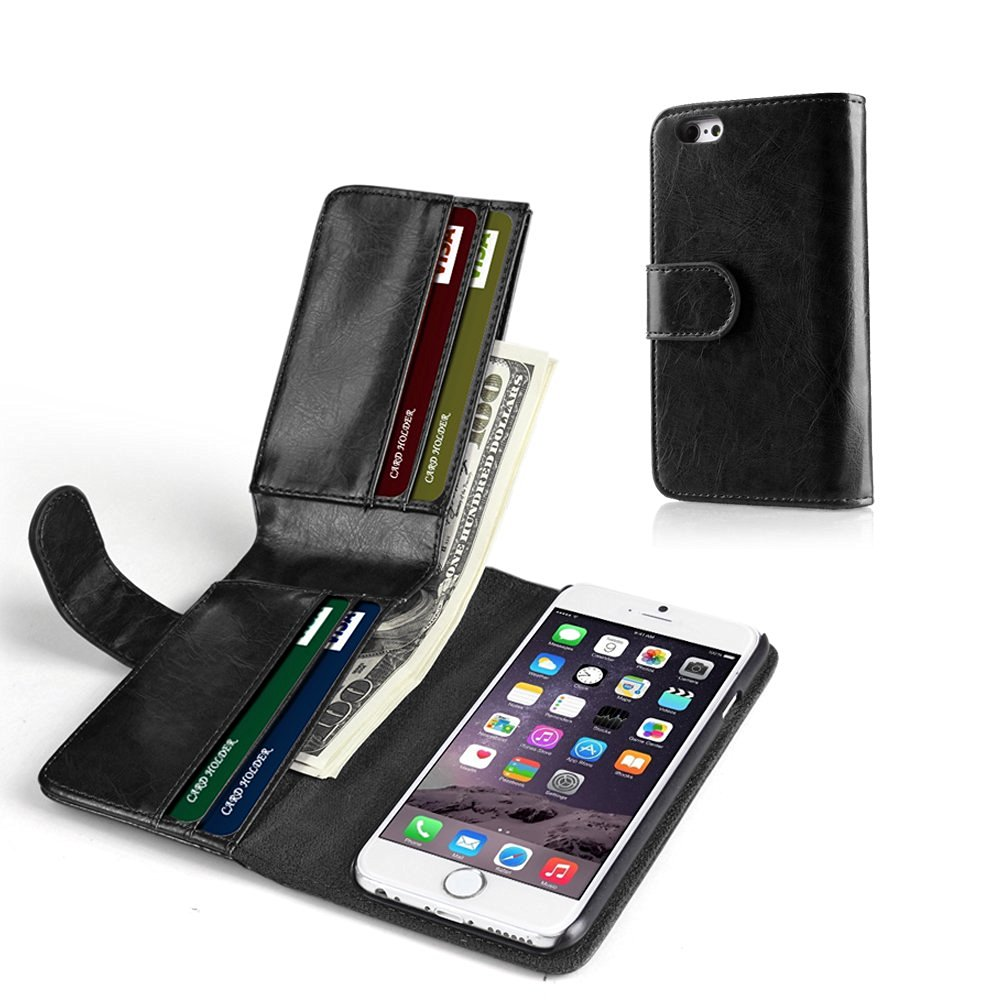 "TNP iPhone 6s Wallet Case - Synthetic Leather Wallet Case Flip Cover with Credit ID Card Slots and Money Pocket for Apple iPhone 6S and iPhone 6 4.7"" Devices (Black) for Men"