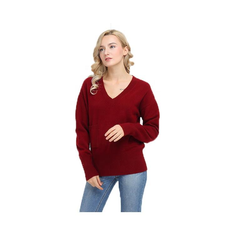 Suéter de mujer de Otoño de moda tejido personalizado con cuello en v de nuevo diseño