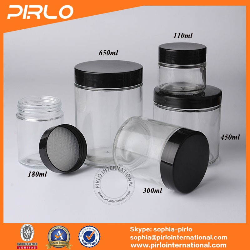 110ml 180ml 300ml 450ml 650ml straight sided glass jar with black plastic seal thread cap lid empty honey candy food glass jars