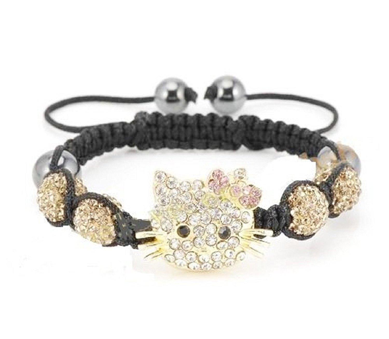 2404f6198 Buy 3D hard gold bracelet hello kitty cat girl KT cat 999 gold gold ...