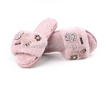 Sexy lady set auger slippers flower pearl sandals for women cute Sandals  pink flip flop real