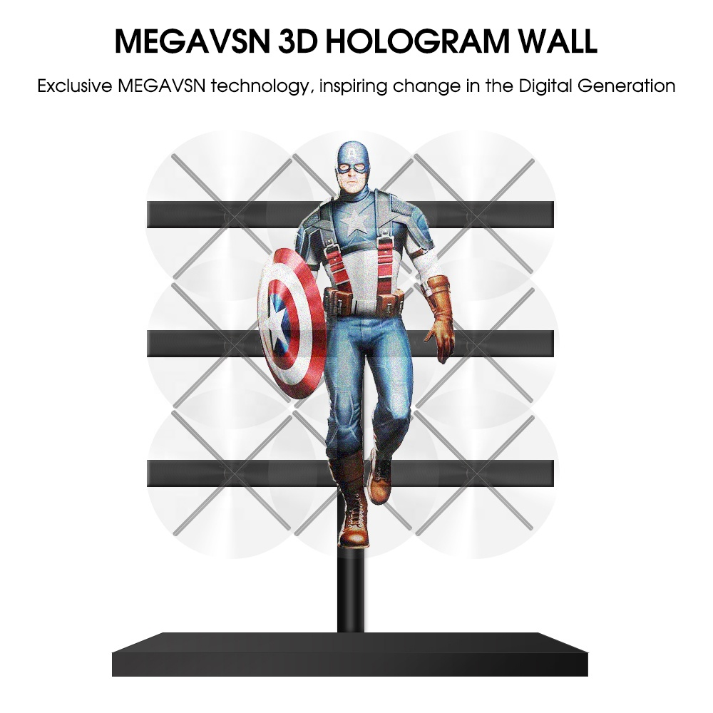 2019 Giwox Megavsn 3D Hologram Video Wall Disinkronkan dengan 9 Unit 65SD LED Fan Wall Display