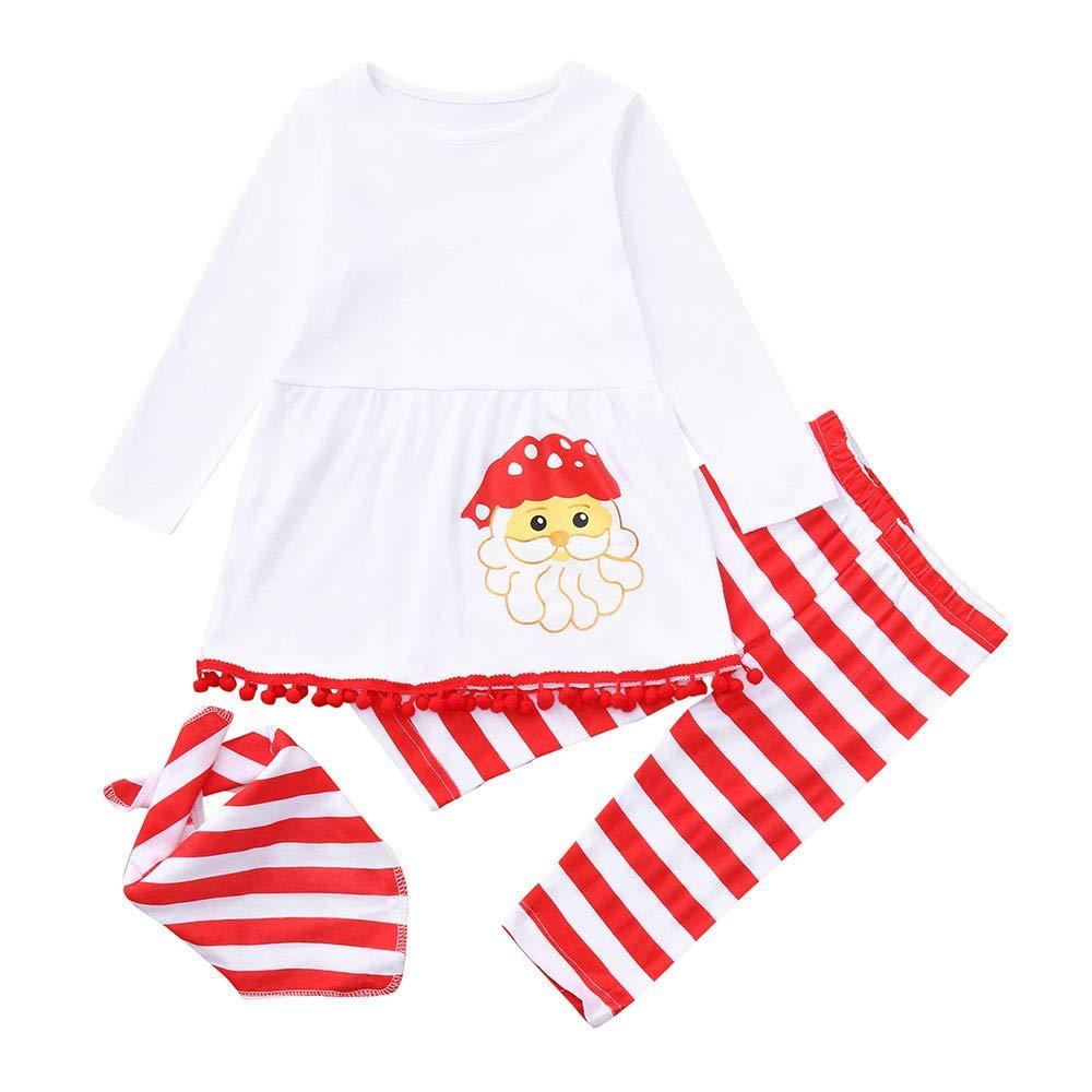 631a6ab7f34a Get Quotations · Sikye Christmas Dress up,Newborn Baby Girls Xmas Santa  Print Top Dress Striped Pants and
