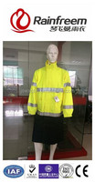 Long raincoat poncho florescent yellow 300D oxford 3M reflective tape with lining rain coat