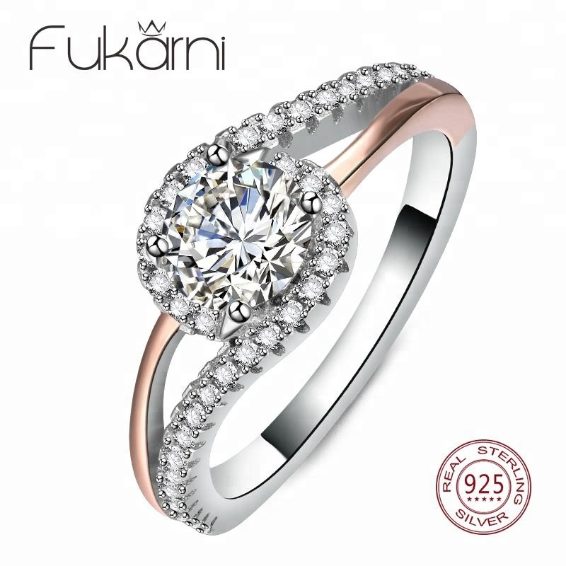 CSR004 Vintage 925 Silver Bridal Halo Ring Plating Gold Ring for girls