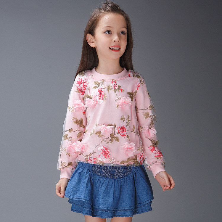 B11592A new fashion little girl's autumn cotton flower t-shirts