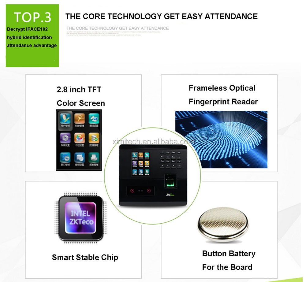 Face+Finger Print time attendance system and access control
