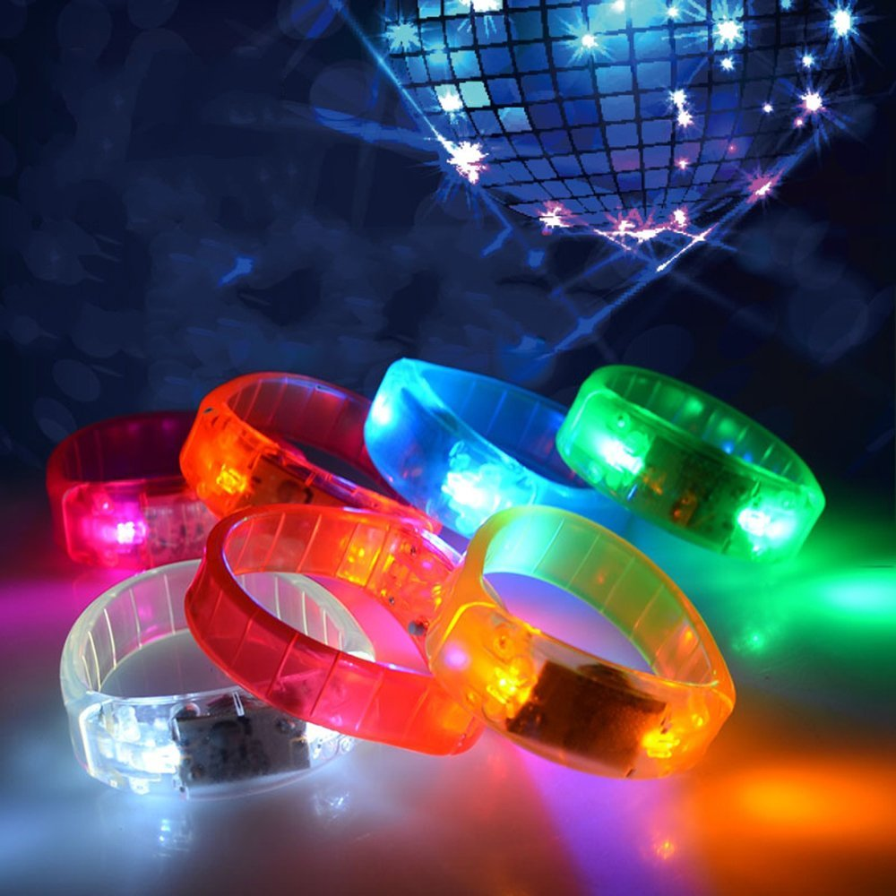 5 Pcs Multicolor Voice Activated Sound Control Led Flashing Bracelet Bangle Wristband for Night Club Activity Party Bar Disco