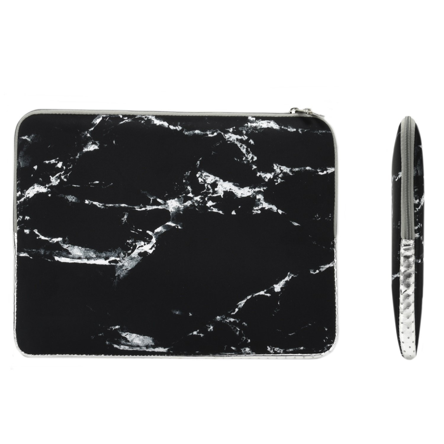 """TOP CASE - Marble Pattern Zipper Sleeve Bag Case for All Laptop 13"""" 13-inch Macbook Pro with or without Retina Display / Macbook Air / Macbook Unibody / Ultrabook / Chromebook - Black"""