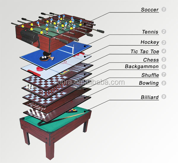 Mini pool table kids billiard table 15 in 1 popular multi for Table 6 games