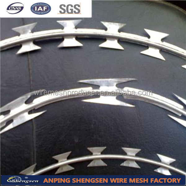 Anping factory 450mm coil diameter concertina razor wire razor blade barbed wire low price with ISO9001 certificate