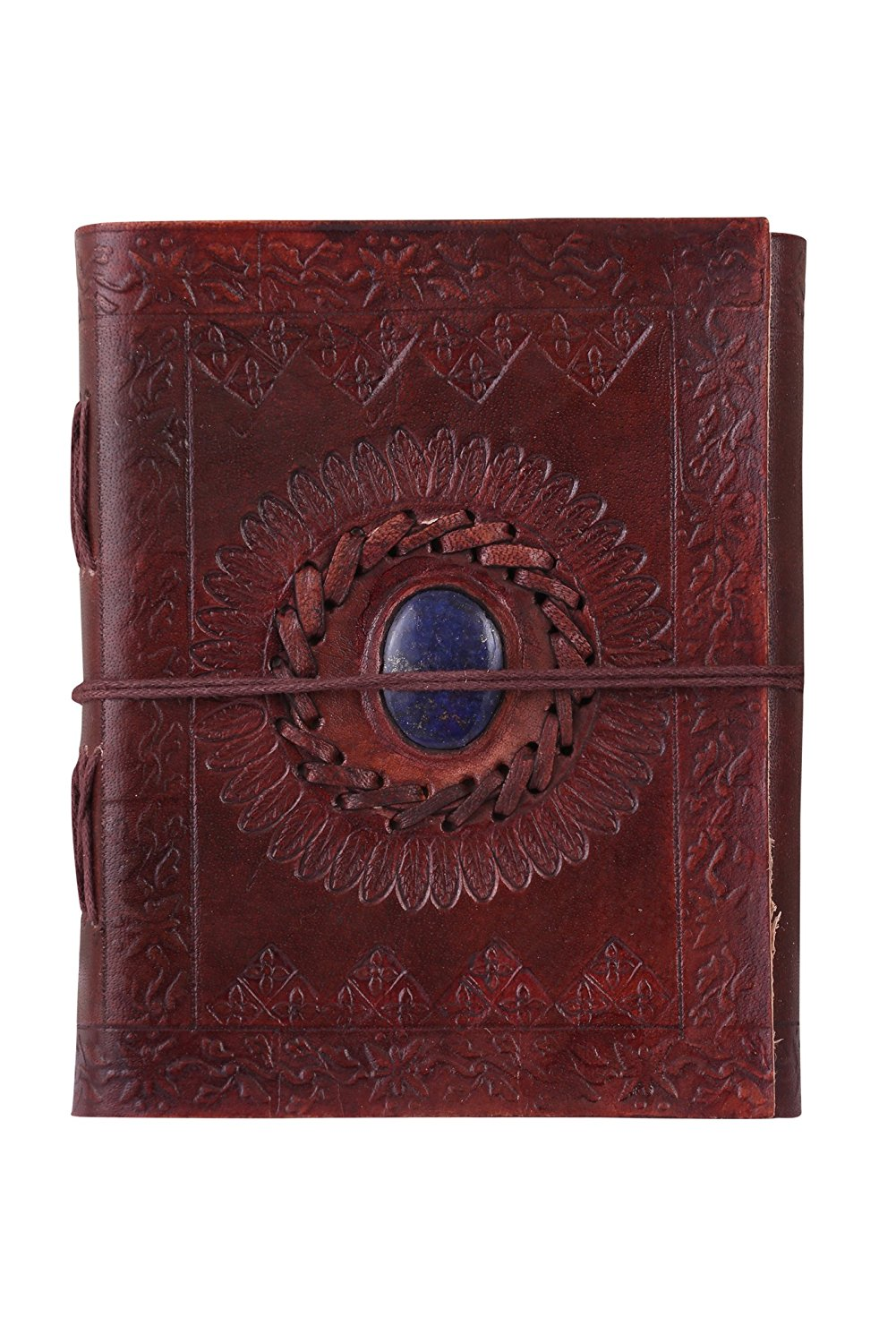ALBORZ Handmade Genuine Leather Embossed Stone Travel Journal, Diary for Men and Women, Leather Bound Notebook, Best Gift for Art Sketchbook, Size 6 x 5 inches