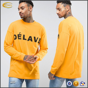 Ecoach free shipping fashion casual 100%cotton crew neck Printed design long sleeve men wholesale oversized t-shirt