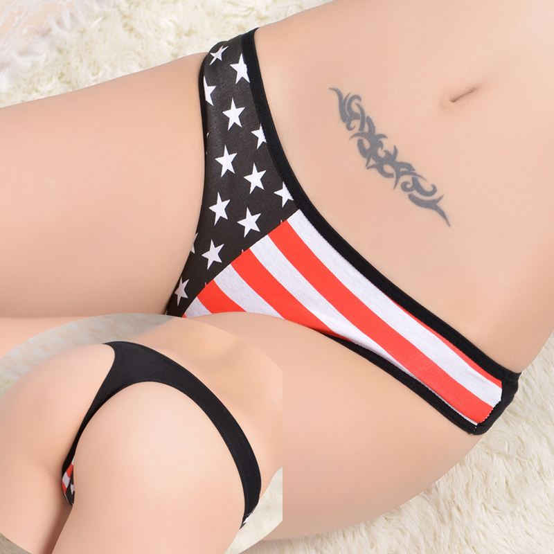 Stock Intimate cotton national flag star stripe Sey panties string lingerie thongs g string Briefs Underwear Women Girls Summer