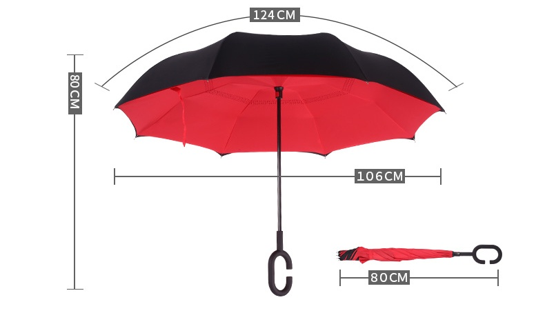 New design Hands Free  Reverse Umbrella Inverted Waterproof Pongee Fabric Car Umbrella