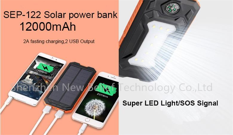 Factory Price Mobile Compass Waterproof 10000 Mah LED Flashlight Solar Charger Power Bank with Solar Power