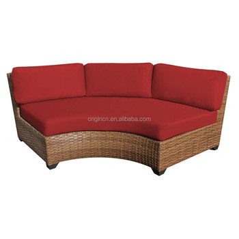 Modern Curved Shape Rattan Sofa Design Commercial Furniture 3 Seater  Restaurant Bench Seat