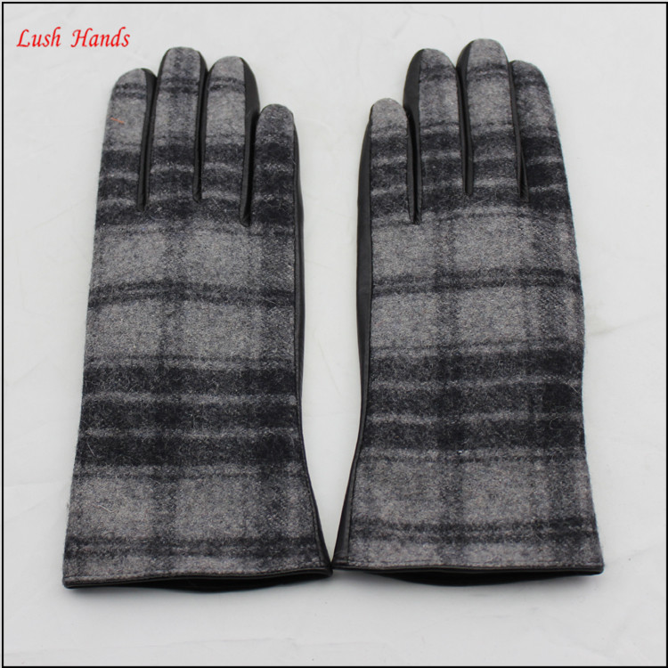 Mens leather and gingham checks fabric gloves touch screen lining polyester