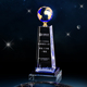 New creative blue ball globe business souvenir crystal trophy award