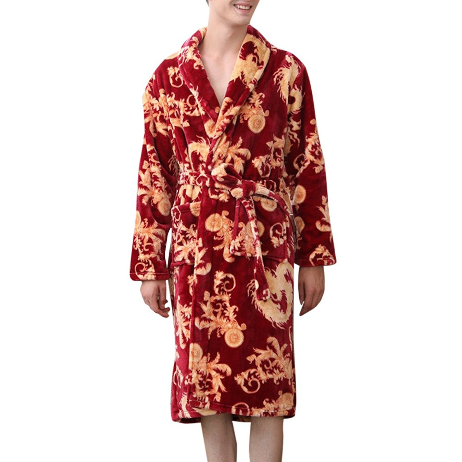 084639fd95 Get Quotations · Zhuhaitf Soft Flannel Long sleeves Pajamas Mens Sleepwear  Night Gowns Thick Warm