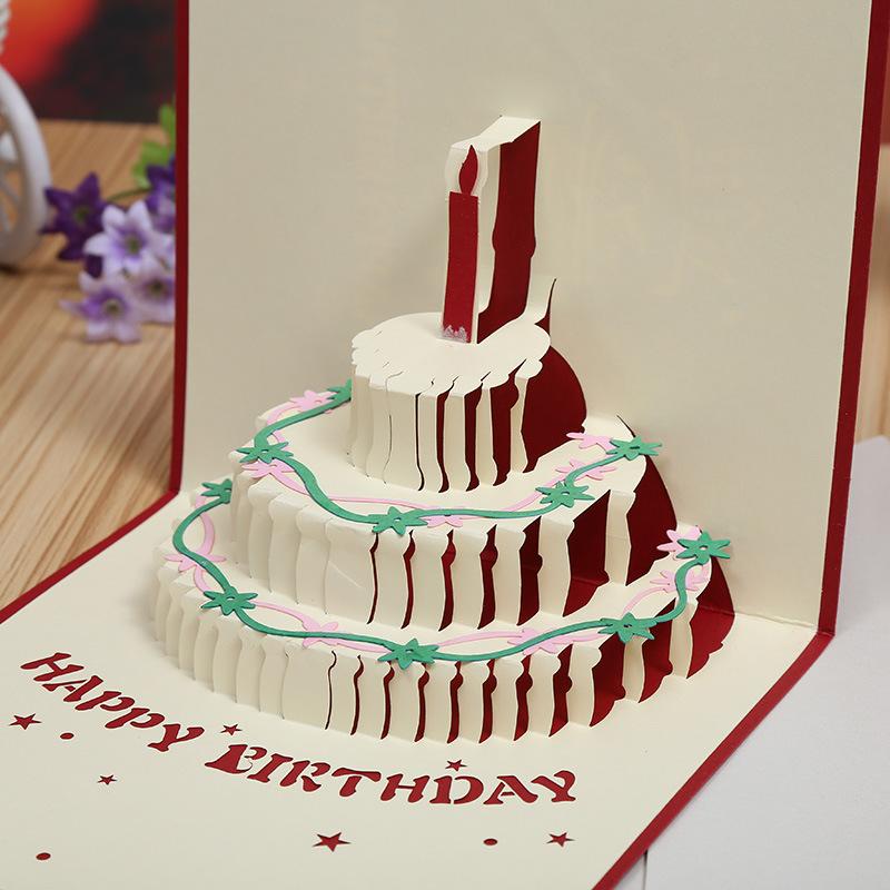 оригами 3д открытка торт на день рождения панике