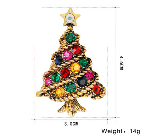 Newest Arrival Silver&Gold Plated Colorful CZ Stone Christmas Tree Brooch Crystal Diamond Christmas Brooch