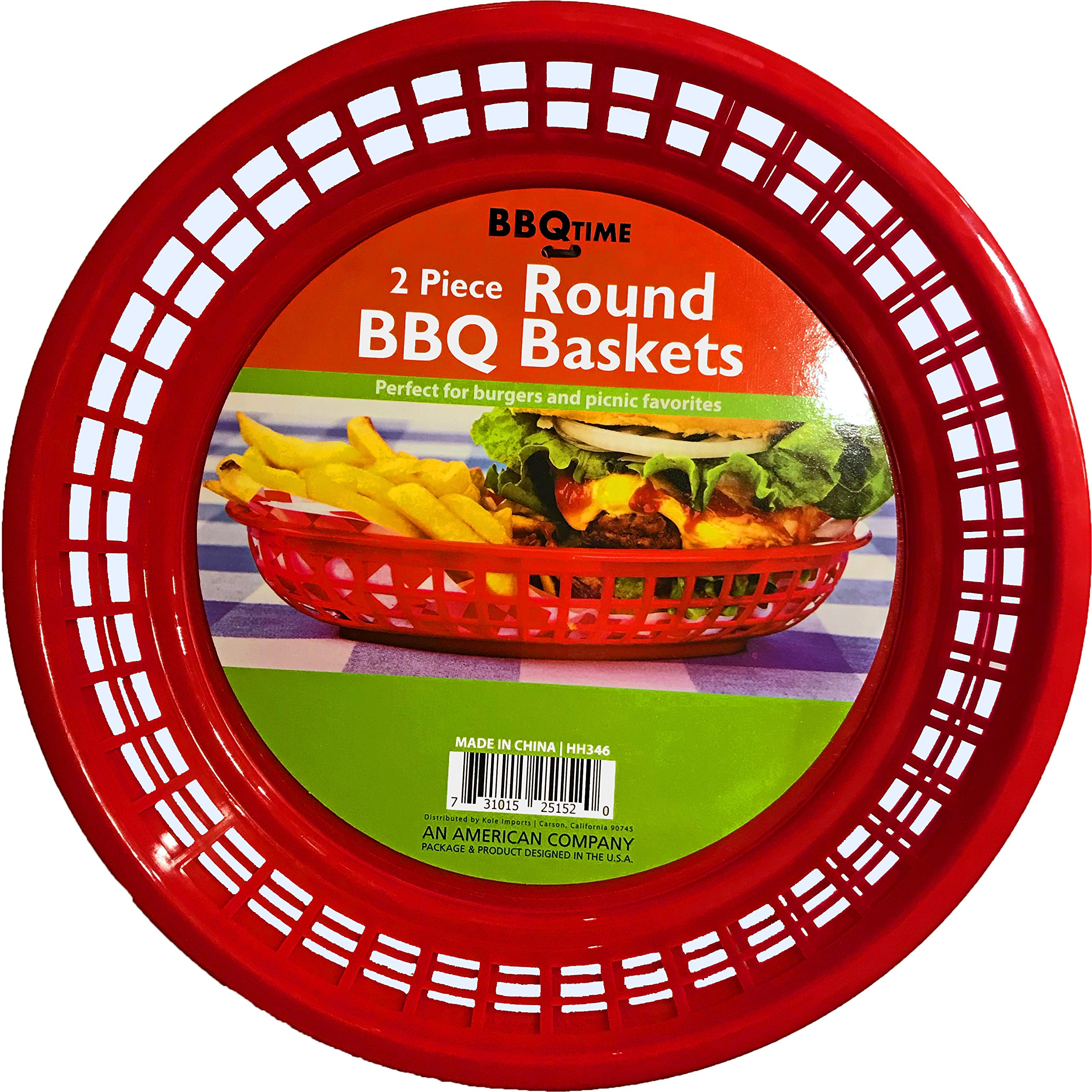 Black Duck Brand 9.5-Inch Round Plastic BPA Free BBQ Food Burger Restaurant Picnic Food Baskets (Red; 6 Baskets)