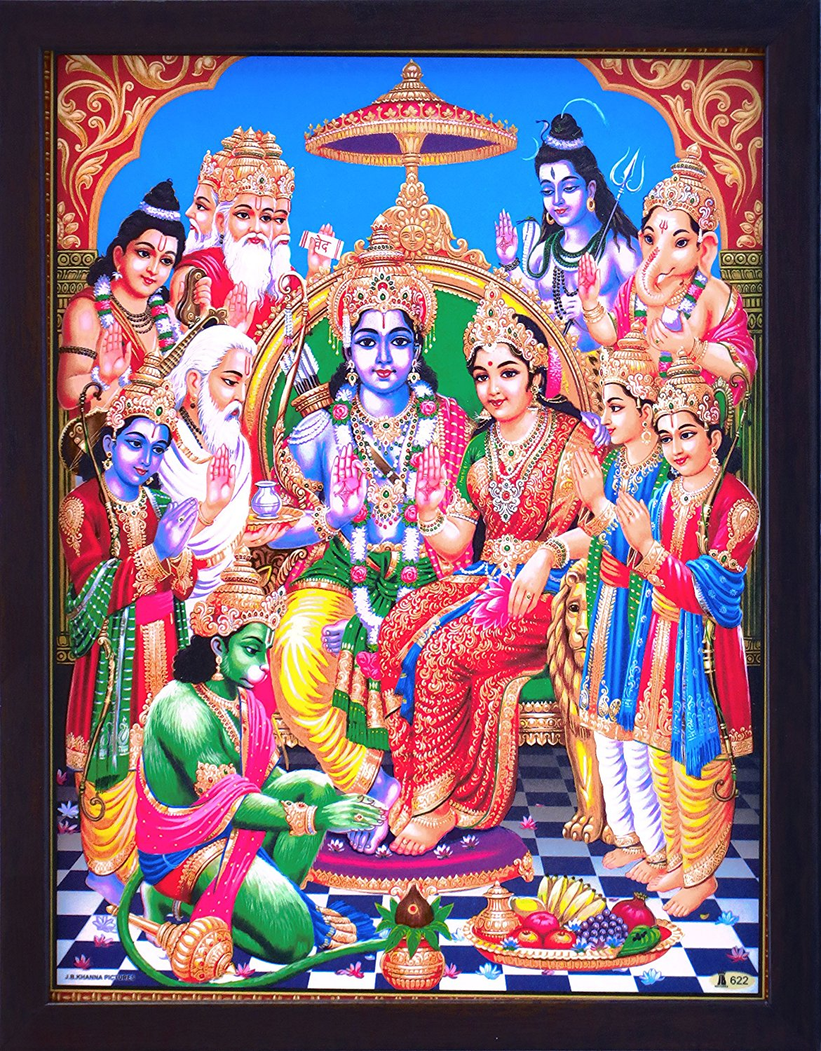 Sita Ram and Hanuman sitting in palace and other Hindu religious god giving blessing, A Hindu Holy Religious Poster painting with frame for Hindu Religious and Gift purpose