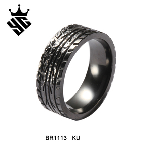wholesale alibaba tire thread pattern black zirconium wedding ring