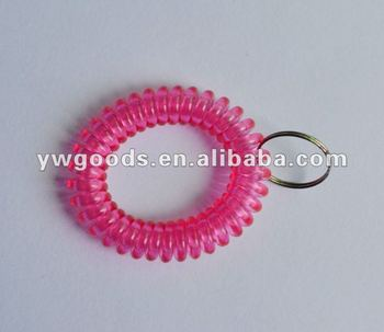 Plastic Spiral Spring Bracelet With Key Ring