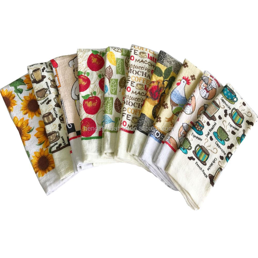 hot sale 100 %cotton printed cut pile tea towel