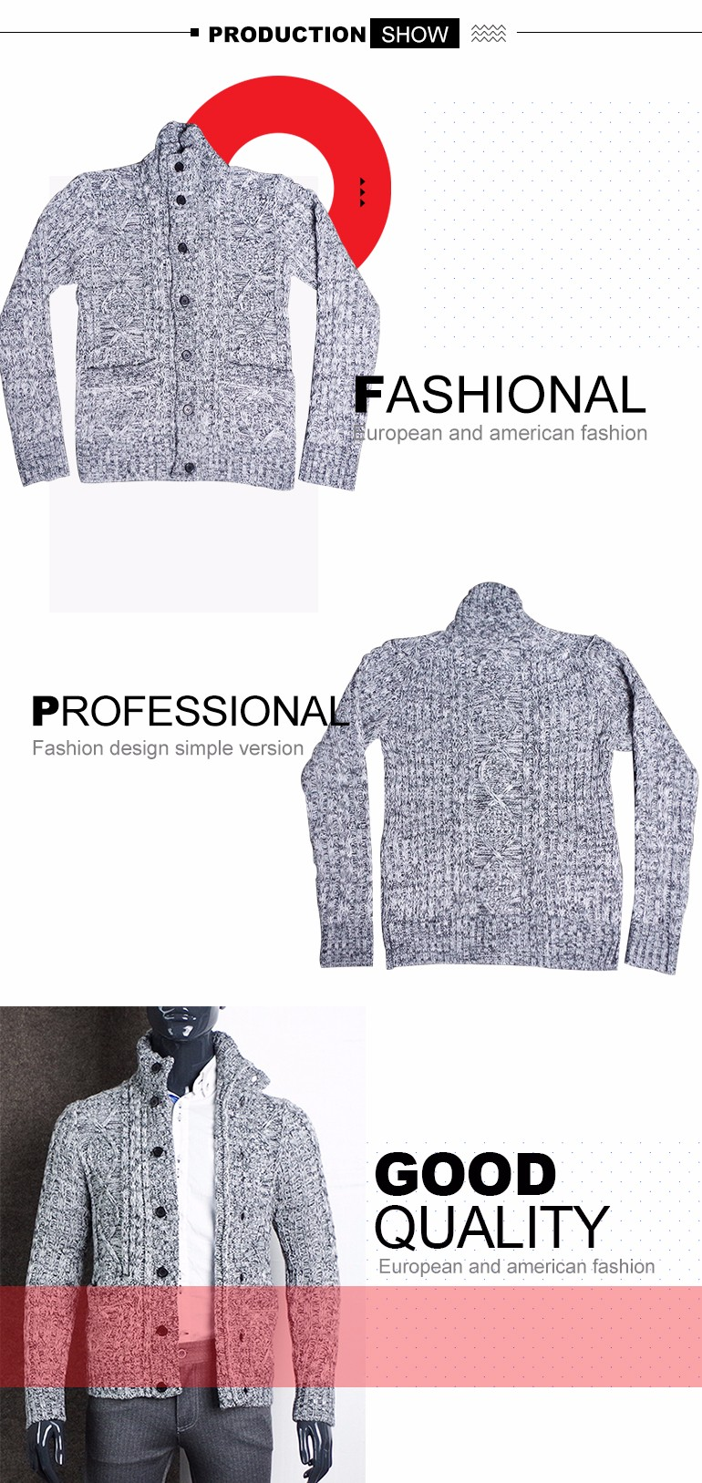 Fashion Heavy Open Front Turtleneck Mens Cable Sweater Knitting ...