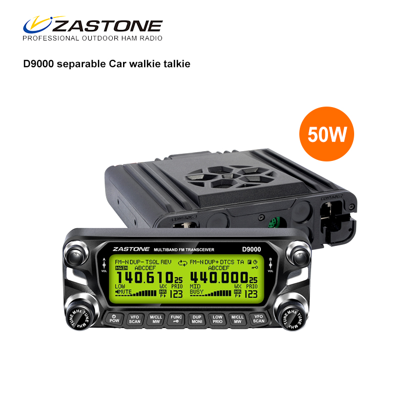 2017 new hot selling 50w dual band wide band receive large lcd mobile radio zastone d9000