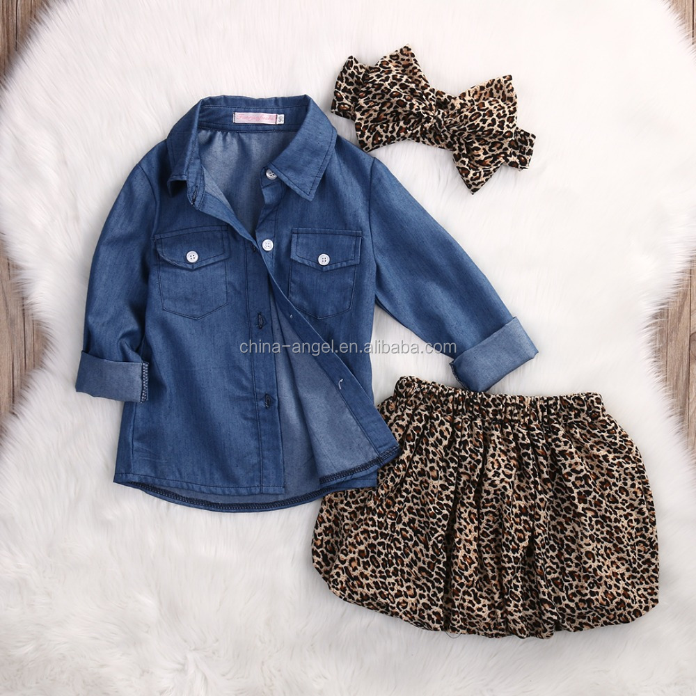 Infant clothes sets 6-36 months baby clothes girls clothes cowboy shirt leopard skirt head flower
