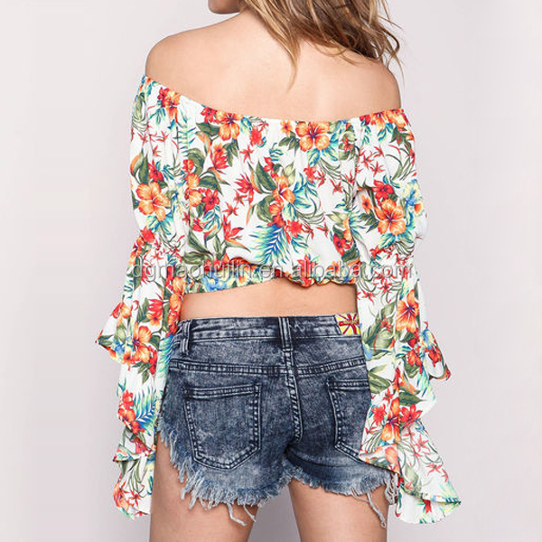 455e1b2dda7 tropical floral print crop top ladies long sleeve off shoulder top blouse  for women summer wear